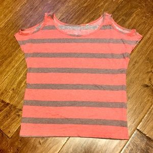 Lilu Pac Sun Striped Cold Shoulder Tee Size XS